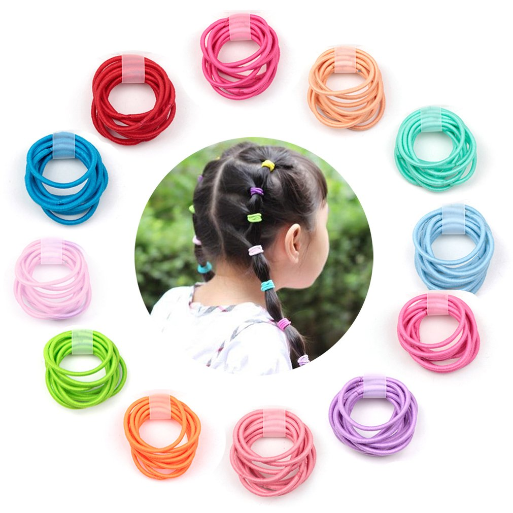 Elesa Miracle 120pcs Baby Elastic Hair Ties 1.8mm Mix Colors Kids Hair Bands Holders Headband