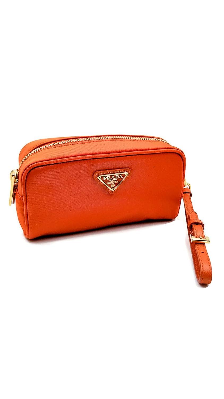 Amazon.com   Prada Tessuto Nylon and Saffiano Leather Papaya Cosmetic Case  Tote Wristlet Pouch Purse Bag   Beauty db8636e250922