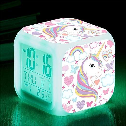 LXJSTP Reloj Despertador de Unicornio de Dibujos Animados Relojes ...