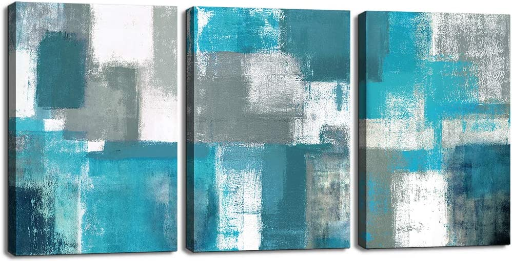 Abstract Wall Art for Living Room Wall Decor 3 Piece Blue Teal Modern Paintings Canvas Prints Framed Living Room Ready To Hang for Bathroom Bedroom Kitchen Office Boho Grey White Artwork 12x16 In