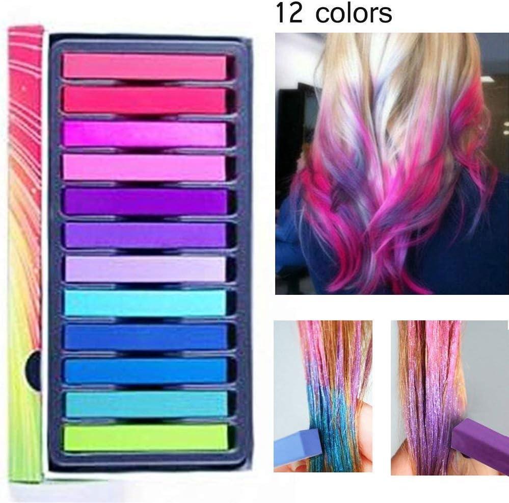 tiza de pelo color temporal del pelo, no tóxicas,Geniales para disfraces, trajes para representaciones y crear looks modernos,12 plumas de tiza coloridas