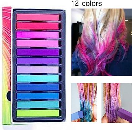 tiza de pelo color temporal del pelo, no tóxicas,Geniales para disfraces, trajes para representaciones y crear looks modernos,12 plumas de tiza ...