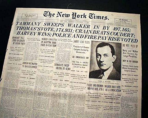JIMMY WALKER Beau James MAYOR New York City Re-Election Win 1929 NYC Newspaper THE NEW YORK TIMES, November 6, 1929