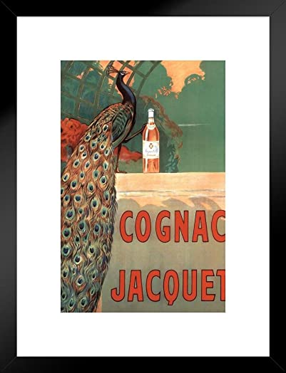 Poster Foundry Camille Bouchet Cognac Jacquet Peacock Vintage French Brandy Beverage Advertisement Matted Framed Wall Art Print 20×26
