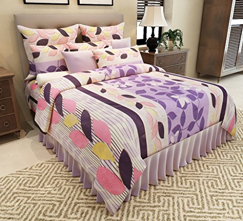 Home Candy Leaves Premium Cotton Double Bedsheet with 2 Pillow Covers – Purple