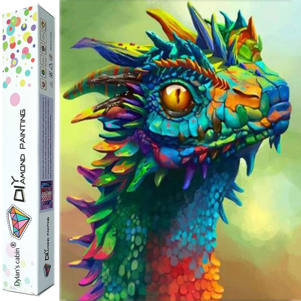 Dylan's cabin DIY 5D Diamond Painting Kits for Adults,Full Drill Embroidery Paint with Diamond for Home Wall Decor(dragon/16x12inch) by Dylan's cabin