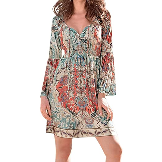 8d49b030344c Caopixx Beach Dress,Beachwear Cover up for Women Bohemian Neck Tie Vintage  Printed Ethnic Style