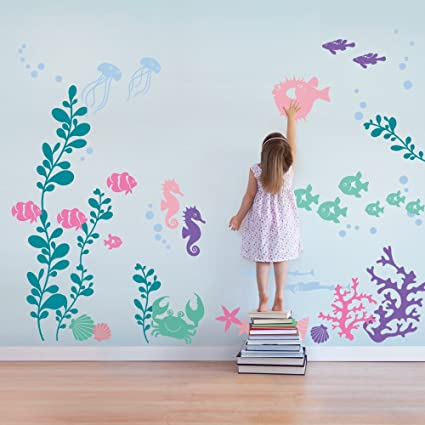 Amazoncom Under The Sea Wall Decals Scheme B By Simple Shapes