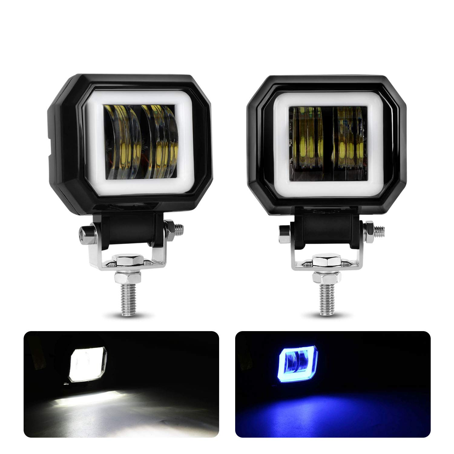 Motorcycle Headlight LED Fog Light 3 inch Round Blue Angel Eye DRL White Light 10-80V DC 8000LM Waterproof Off-road Vehicle Marine Work Light 2 PCS
