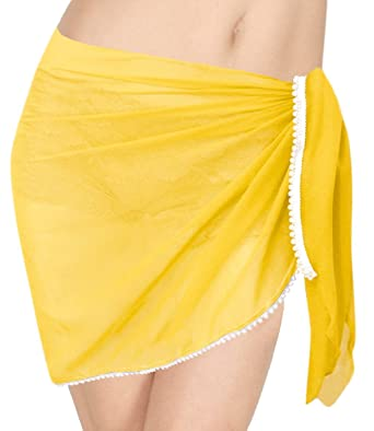 "22be2b78eb7c LA LEELA Sheer Chiffon Aloha Wrap Surf Women Sarong Solid 52""X21""  Yellow_31"