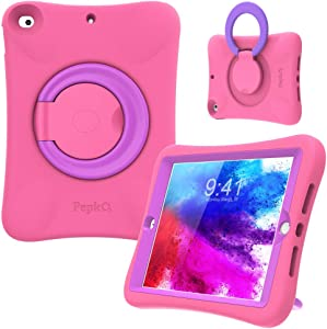 PEPKOO Kids Case for iPad 8th 7th Generation 10.2 inch 2020 2019 – Lightweight Flexible Shockproof, Folding Handle Stand, Full Body Rugged Boys Girls Cover for Apple iPad 8th 7th Gen, Pink Purple