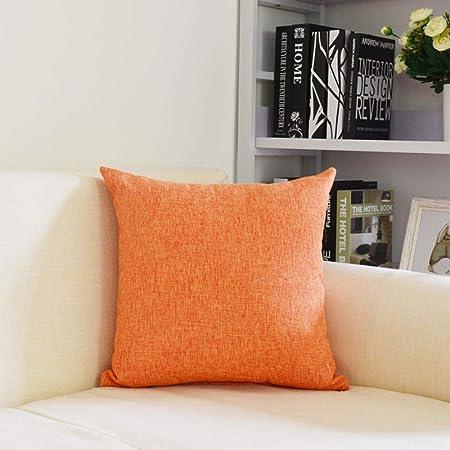 WBXZAL Cojines Decorativos para Sofa,Funda Almohada algodón Lino Color sólido,para Sofá Silla Cama Sala de Estar Dormitorio Coche,Funda cojin,2 Piezas-Los 50X50cm_Naranja: Amazon.es: Hogar