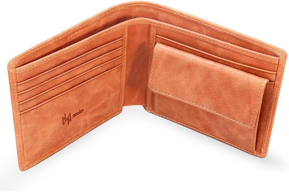 Cartera de Cuero Marrón Auténtico Hecho a Mano para Hombre y Adolescente de la Marca Francesa Neeko Billetera de Bolsillo en Piel Real y Tarjetero Minimalista con Protección RFID