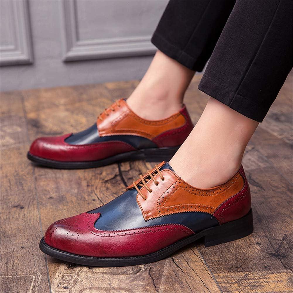 WMZQW Chaussures Habillées pour Hommes Sculptées Chaussures de Richelieu en Cuir Chaussures de Bureau 38-47 Red