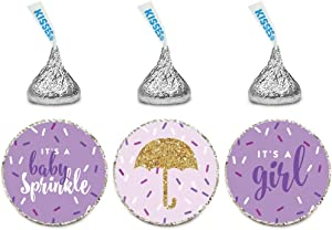 Andaz Press Chocolate Drop Labels Trio, Girl Baby Shower, Baby Sprinkle, Lavender, 216-Pack, Fits Hershey's Kisses Party Favors, Decor, Decorations