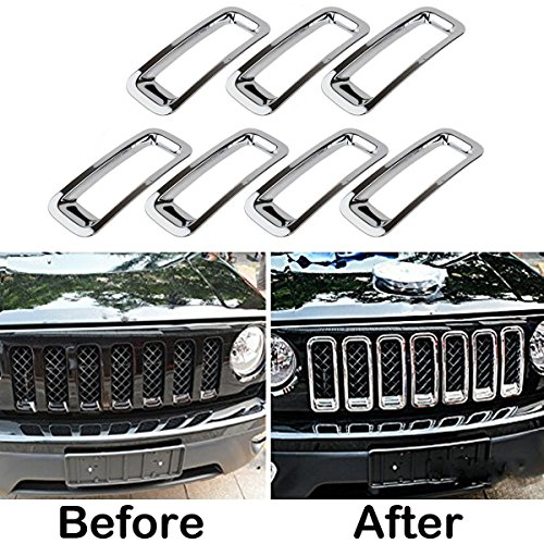 MOEBULB Front Grill Mesh Grille Insert Cover Trim Kit 7pcs/set for 2011 to 2016 Jeep Patriot (Without Mesh , Silver)
