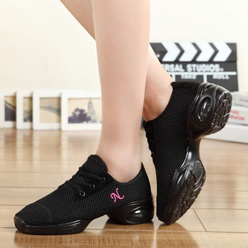 YFCH Femme Chaussure Sport Jazz Moderne Maille /à Lacets Gym Antid/érapant Mode Baskets Danse Respirant Sc/ène Latin D/étente Sneaker