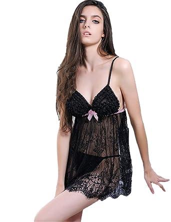 cb8087af0b3 ohyeahlady Women Ruffle Lace Bridal Lingerie Set Transparent Nightwear  Chemise with G-String Set