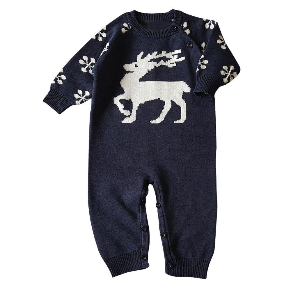 Baby Romper,Lowprofile Unisex Newborn Baby Boys and Girls Overall Long Sleeve Christmas Sweaters Bodysuit Coat Deer