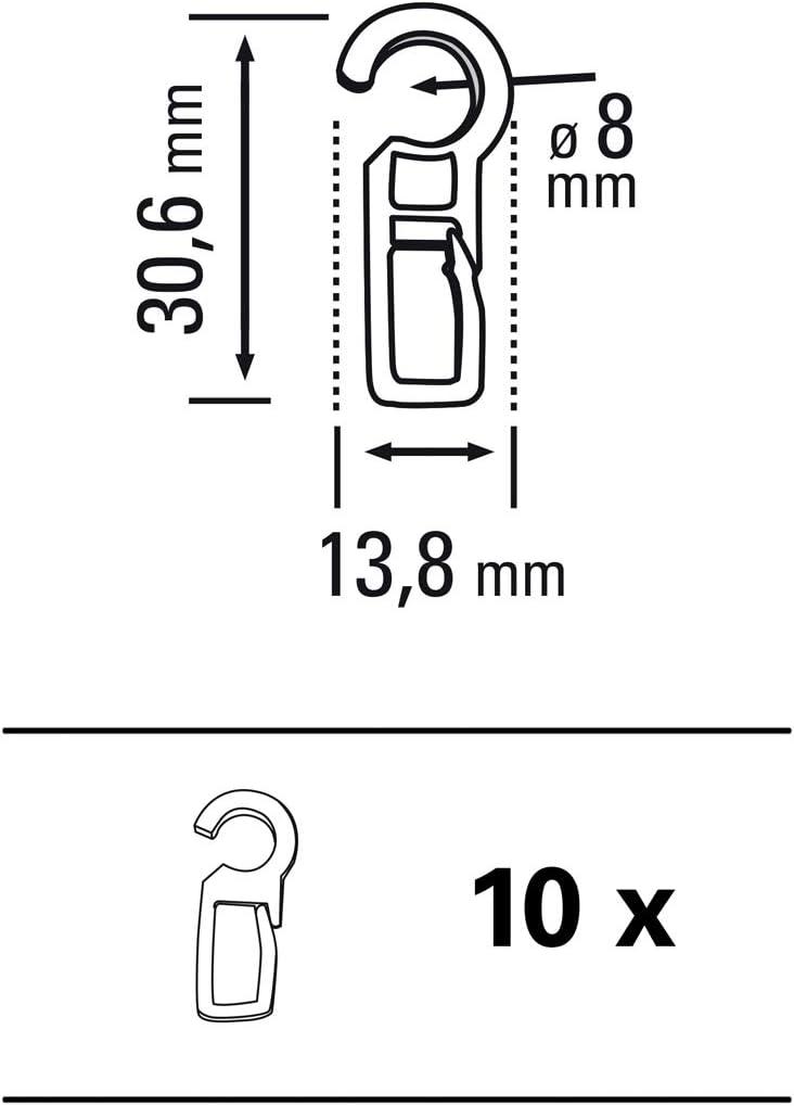 100 pièce Crochet plis Rideaux Crochet Faltenlegehaken Rideaux Anneaux 10 mm œillet