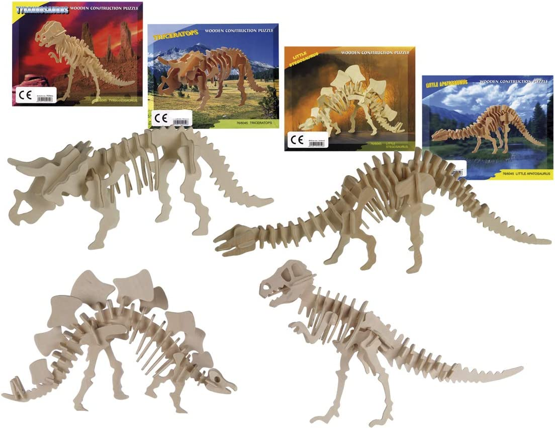 Bada Bing - Puzzle 3D de Madera Natural, diseño de Esqueleto de Dinosaurios para Manualidades y construcción