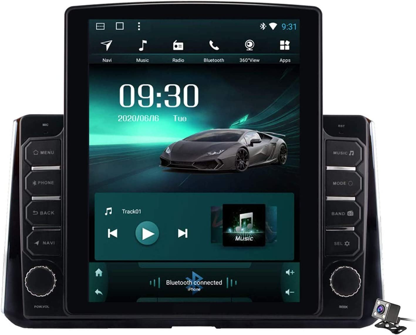 XBRMMM Pantalla Vertical 9.7 Pulgadas 2 DIN Android 9.1 Estéreo para Automóvil para Toyota Corolla 2019-2020 Radio con Navegación GPS Integrado DSP FM Am Soporte Bluetooth/SWC/MirrorLink