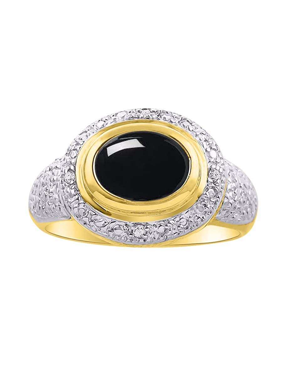 9X7MMGreat Ring for Middle or Pointer Finger RYLOS Classic Ladies Ring Oval Cabochon Gemstone /& Genuine Sparkling Diamonds 14K Yellow Gold Plated Silver .925