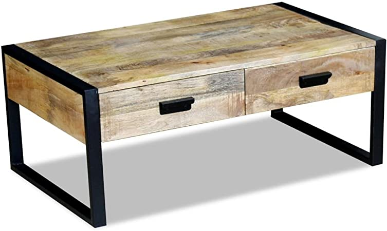 Vidaxl Coffee Table Desk Stand With 2 Drawers Solid Mango