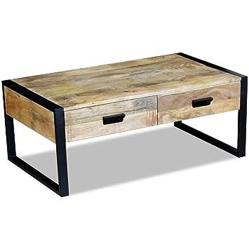 Vidaxl Table Basse De Salon Avec 2 Tiroirs Bois De Manguier Massif 100 X 60 X 40 Cm