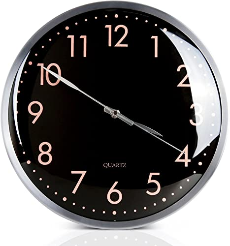 Egundo Black Wall Clock Battery Operated 13 Inch Decorative,Silent Non Ticking Quartz Analog Metal Large Number Round Quiet Clocks,Home Decor Bright Color Clock for Living Room Bedroom Kitchen Office