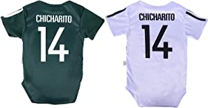 Chicharito #14 Mexico Soccer Jersey Baby Infant and Toddler Onesie Romper Premium Quality - Home and Away Pack of 2