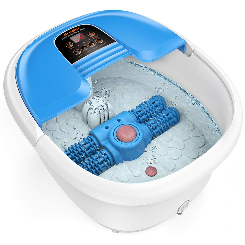 Arealer Foot Spa Bath Massager With Automatic Foot Massage Rollers Temperature Control Bubbles Massage Electric Feet Salon Tub Maintain Water