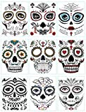#10: DaLin 9 Sheets Floral Day of the Dead Sugar Skull Temporary Face Tattoo Kit for Halloween