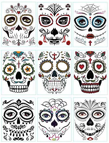 DaLin 9 Sheets Floral Day of the Dead Sugar Skull Temporary Face Tattoo Kit for Halloween