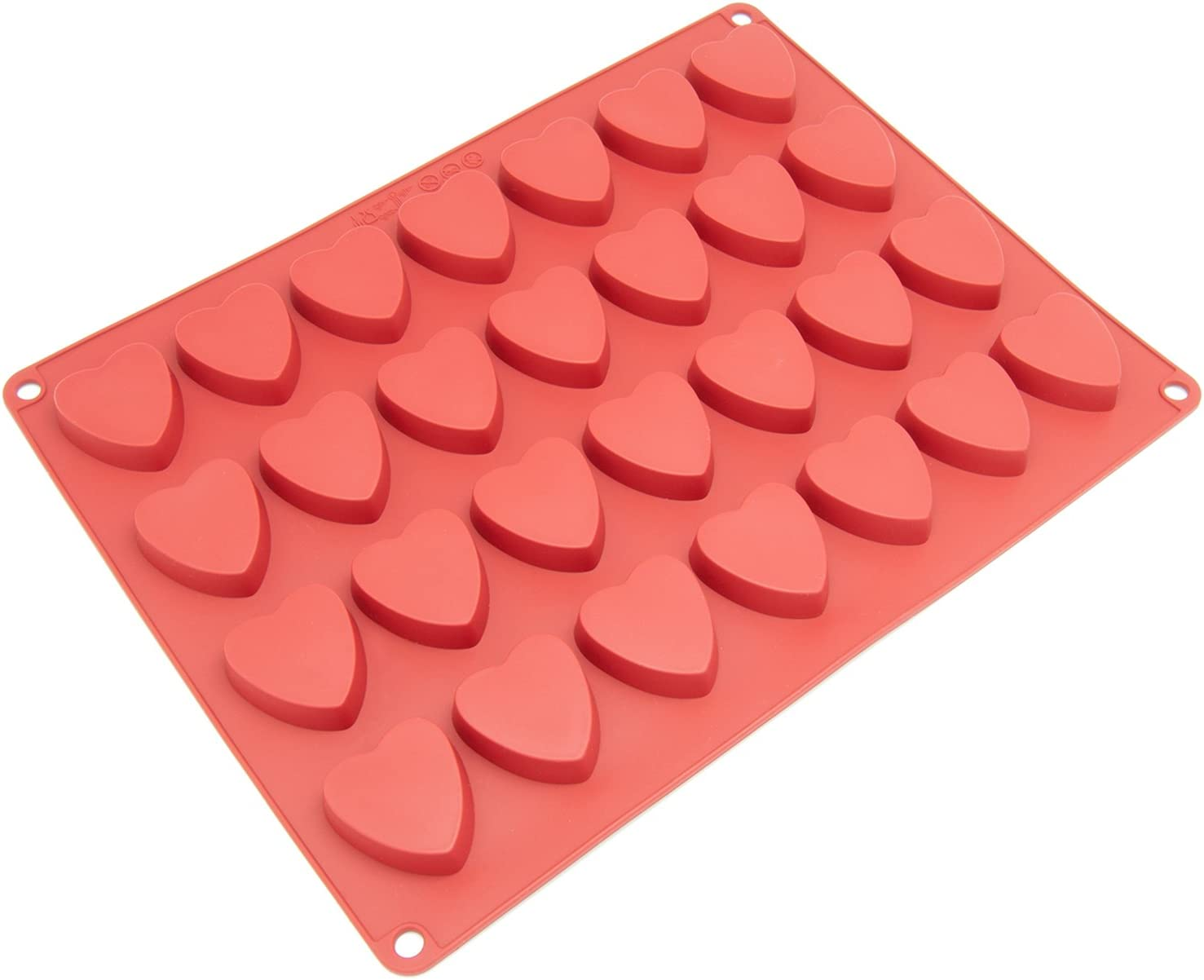 Silicone Chocolate Candy Molds [Heart, 28 Cup] - Non Stick, BPA Free, Reusable 100% Silicon & Dishwasher Safe Silicon - Kitchen Rubber Tray For Ice, Crayons, Fat Bombs and Soap Molds