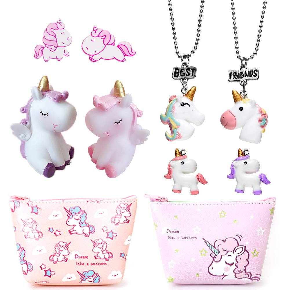 Unicorn Gifts,Party Pack for Girls- 2 Best Friend Necklaces + 2 Unicorn Pins + 2 Unicorn Keychain + 2 Coin Purse(Plus 2 Pendant!) Sunovelties PF01-BF