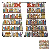 magnificent living room ladder bookshelf Window Curtain Drape Library Bookshelf with A Ladder School Education Campus Life Caricature Illustration Decorative Curtains for Living Room W72 x L108 Multicolor
