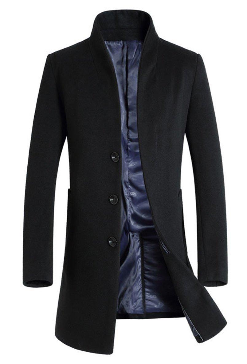 Lavnis Men's Trench Coat Long Wool Blend Slim Fit Jacket Overcoat Thin Style Black L by Lavnis