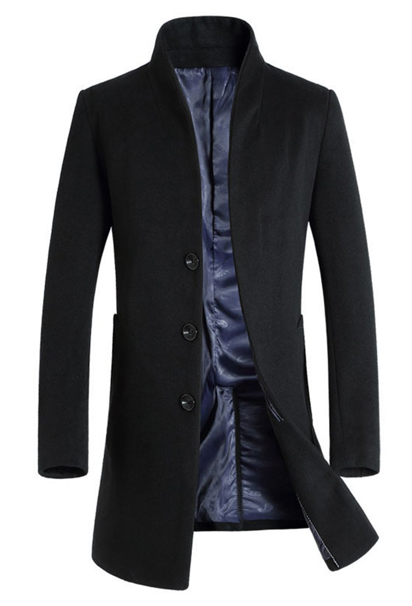 Vogstyle Men's Trench Coat Long Wool Blend Slim Fit Jacket Overcoat Size Thicken Style XL