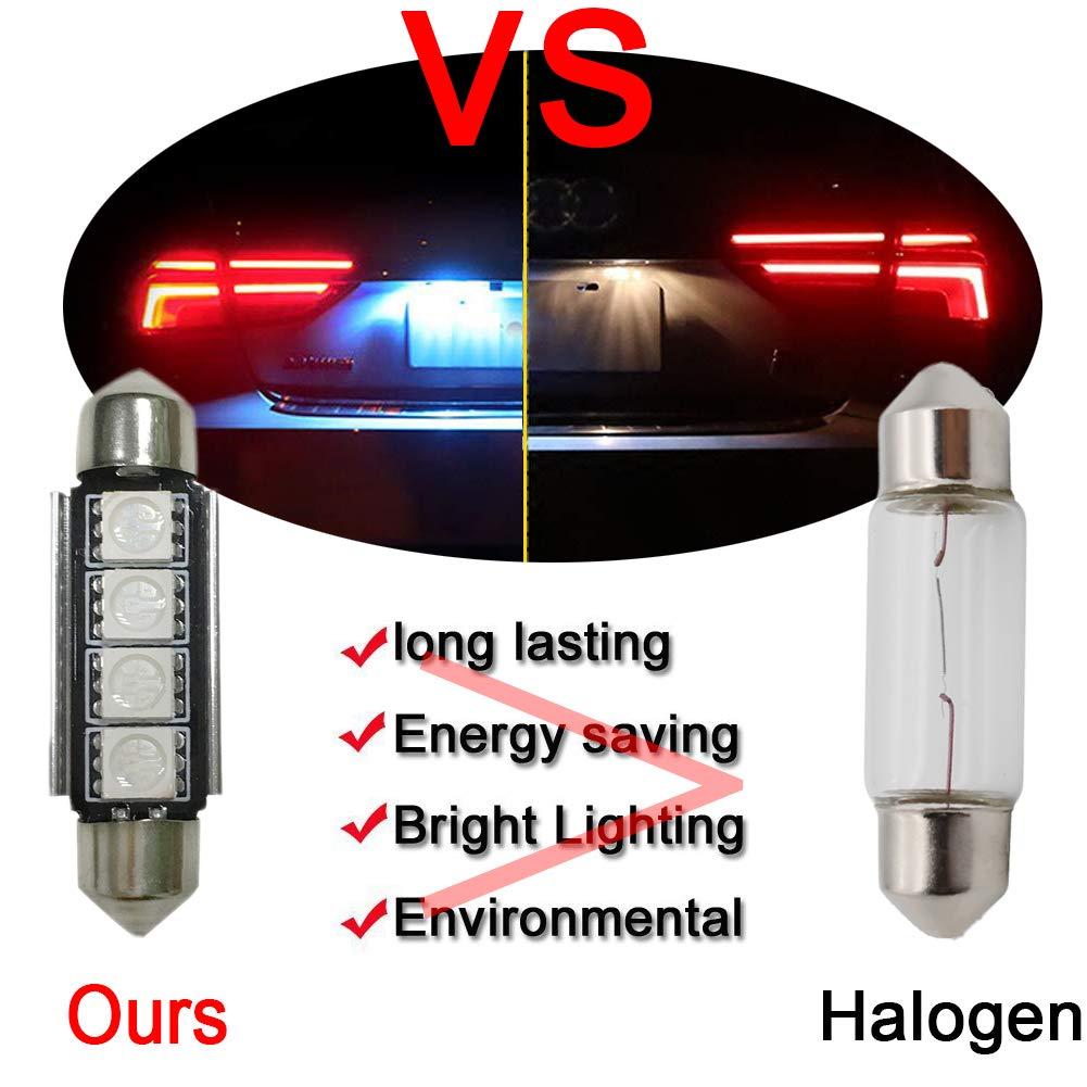 pack de 6 Lianqi 42mm Rouge Ampoule LED Extr/êmement Lumineux C5W CANBUS 5050 4SMD Ampoules LED De Utilis/é Pour D/ôme Lampes De Feux De Plaque Dimmatriculation