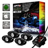 OPT7 AURA 4pc RGB LED Rock Lights w/soundsync Bluetooth App Control - Dimmer Strobe Fade IP67 Waterproof pods for Offroad, Crawling, Climbing - 2 Year Warranty