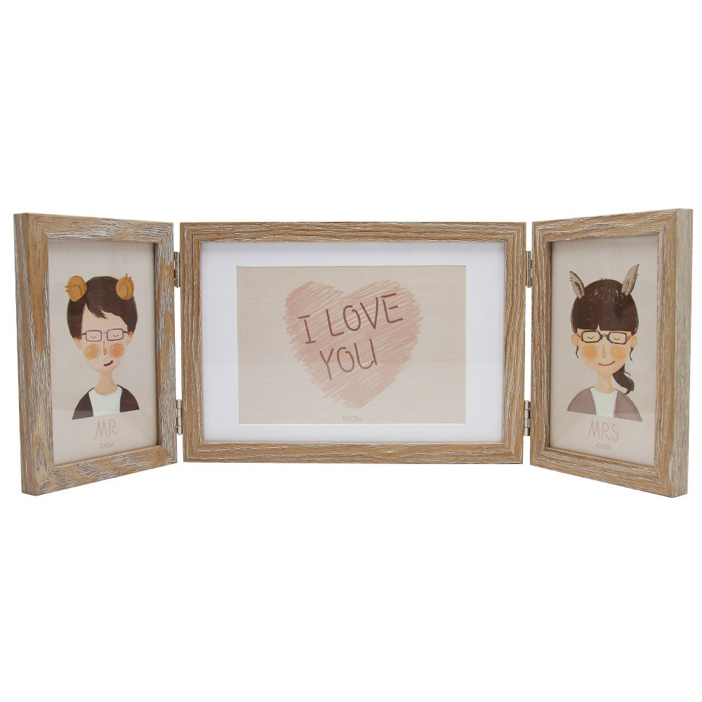 2PCS Black and Oak Double Plated Photo Frame with Mount Wood Effect For Stand