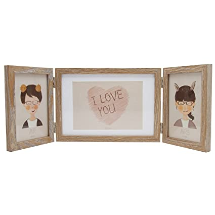 Amazon.com - SUMGAR Wooden Three Picture Frame 5x7 and 4x6 Hinged ...
