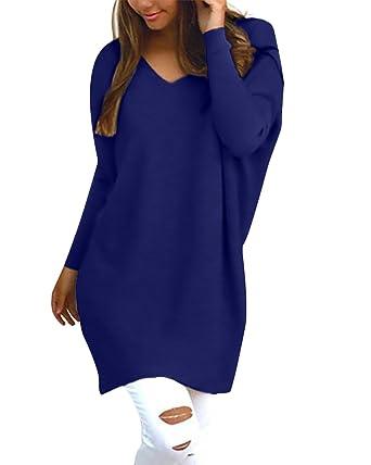 StyleDome Damen Langarm Herbst Shirt Dress Jumper Oberteil Streetwear  Oversize Pullover Tops  Amazon.de  Bekleidung 1bbe4657dc