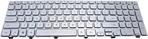 LeFix US Backlit Keyboard with Frame Replacement Compatible with Dell Inspiron 15 7000 7537 7737,KK7X9,V143625AS1,Sliver Color