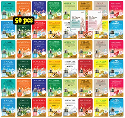 [OBS lab] 50 pcs Ultra Hydrating Essence Mask, Korean Facial Mask Sheet, 50 Combo-Pack (3 x 16 Types + 1 Hand Mask + 1 Foot Mask) [ + Skincare Sample ]