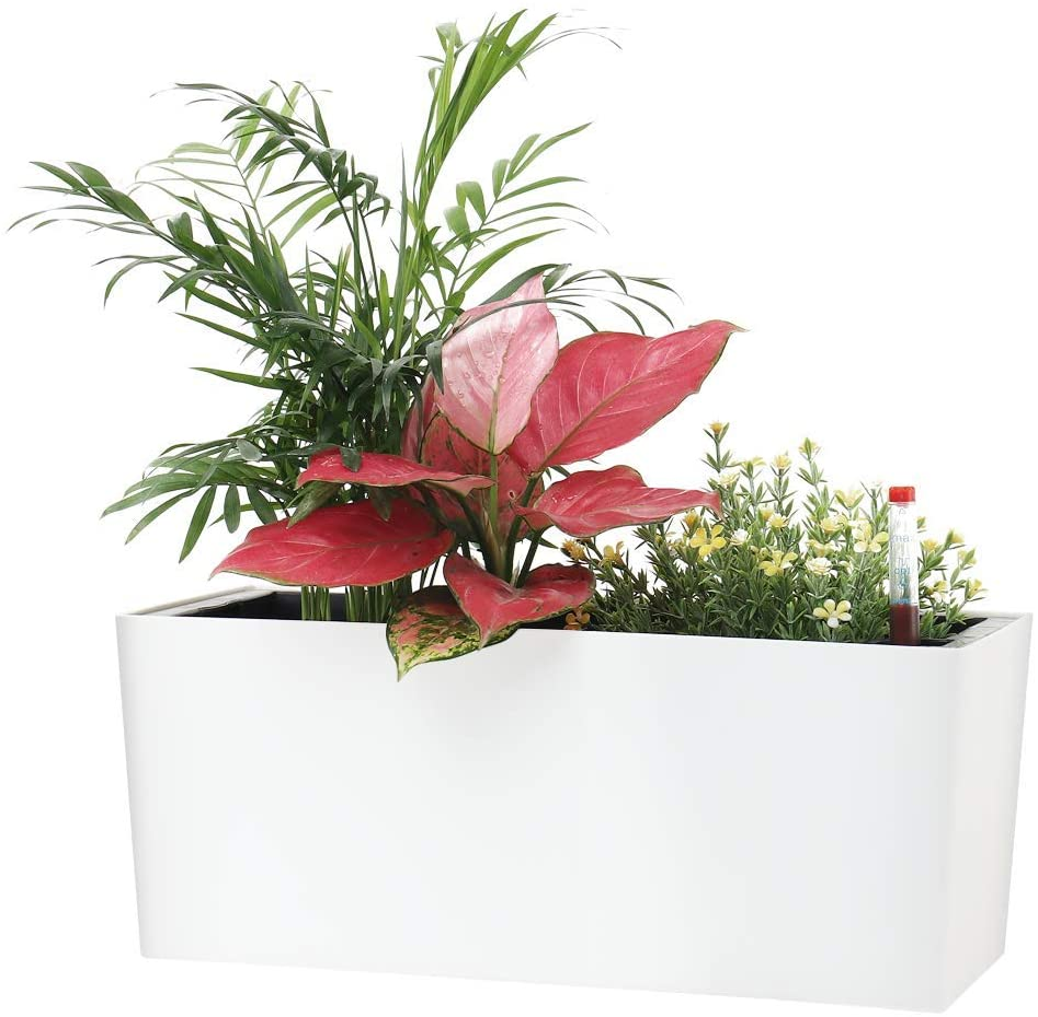 "SAROSORA 14"" Rectangle Self Watering Planter with Water Level Indicators for Home Garden Outdoor Indoor Succulent (1, White)"