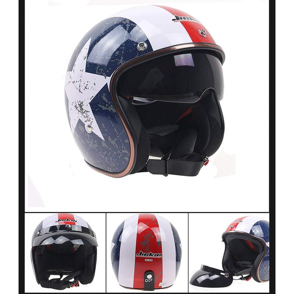 Cascos Jet Prueba de Ca/ídas Colisi/ón Visera Desmontable Integral,A,M Casco para Motocicleta,Vintage Casco Retro,Nuevo Americano Helmet de Motos,Utilizado en Motocross y Carreras y Kart de Carretera
