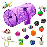17 Packs Cat Interactive Toys Set - 2 Way Tunnel,Bell Crinkle Balls,Sisal Mouse, Catnip Toy, Feather Teaser Wand