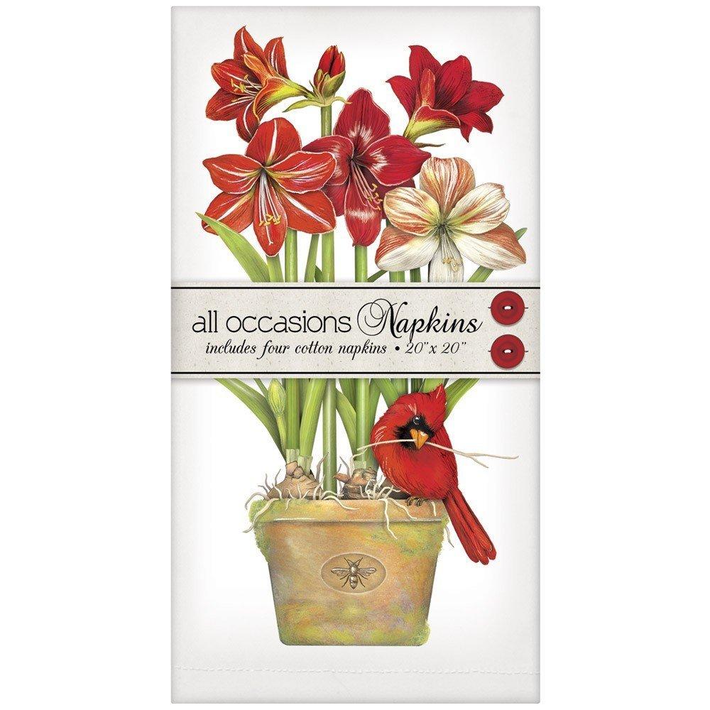 Mary Lake-Thompson Cardinal Amaryllis Casual Cotton Napkins, Set of 4
